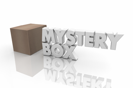 Mystery Box Cardboard Package Unknown Contents Word 3d Render Illustration