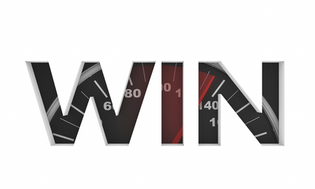 Win Speedometer Race Needle Fast Word 3d Illustration