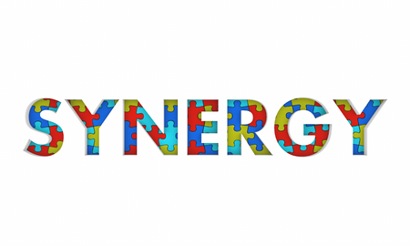 Synergy Puzzle Working Together Word 3d Illustration Stockfoto