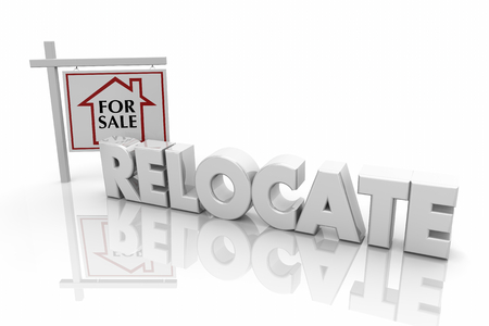 Relocate Move Home House for Sale Sign Words 3d Illustration