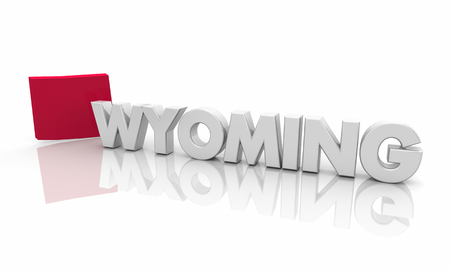 Wyoming WY Red State Map Word 3d Illustration 스톡 콘텐츠