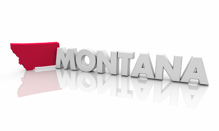 Montana MO Red State Map Word 3d Illustration