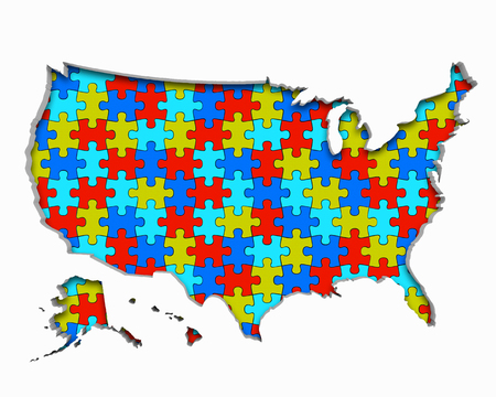 United States of America USA Puzzle Pieces Map Working Together 3d Illustration