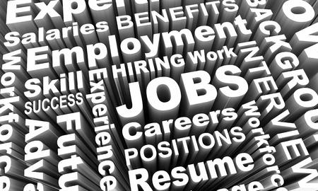 Jobs Careers Word Employment Words 3d Illustration