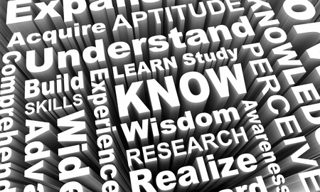 Know Learn Education Wisdom Knowledge Words 3d Render Illustration