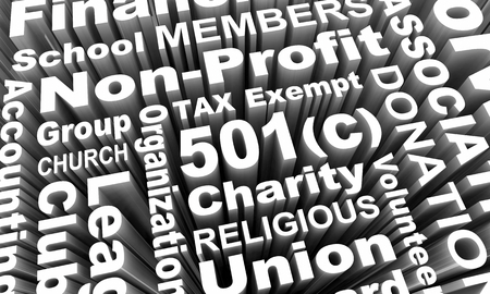 501c Tax Exempt Group Organization Entity Charity Church Word Collage 3d Render Illustration Stock Photo