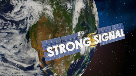 Strong Signal Satellite Earth Coverage 3d Render Illustration  - Elements of this image furnished by NASA. Imagens