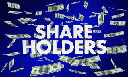 Shareholders Stock Owners Investors Words Money 3d Render Illustration 免版税图像