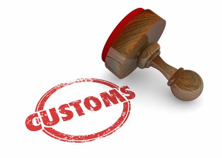 Customs Approval Stamp Word 3d Render Illustration