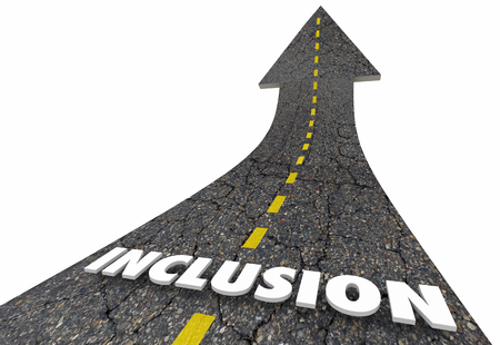 Inclusion Word Road Inclusive 3d Render Illustration