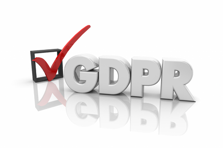GDPR General Data Protection Regulation Check Mark Box 3d Render Illustration