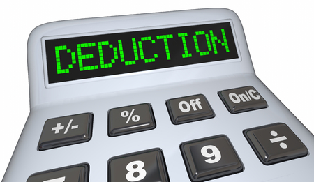 Deduction Word Calculator Tax Budget Expense 3d Render Illustration Stock Photo