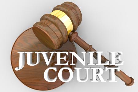Juvenile Court Judge Gavel Justice System 3d Render Illustration Banco de Imagens