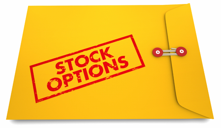 Stock Options Yellow Stamped Envelope Words 3d Render Illustration