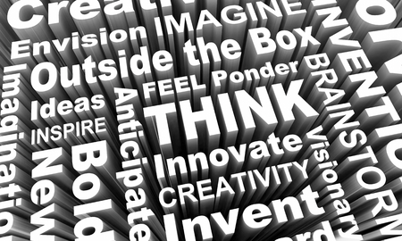 Think Imagine Envision Creativity Word Collage 3d Render Illustration Stock Photo