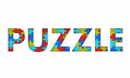 Puzzle Game Complete Picture Word 3d Render Illustration