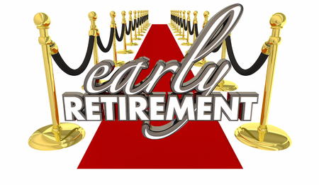 Early Retirement Red Carpet Welcome Enjoy Life Words 3d Render Illustration Stock Photo