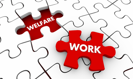Welfare to Work Puzzle Pieces Words 3d Render Illustration