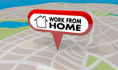 Work from Home Map Pin Telecommute Words 3d Render Illustration 写真素材