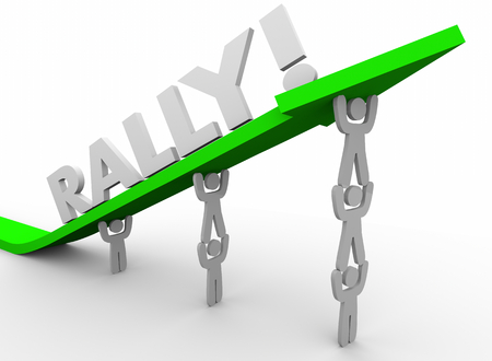 Rally Team Working Together Increase Lift Arrow Up Words 3d Render Illustration Stok Fotoğraf
