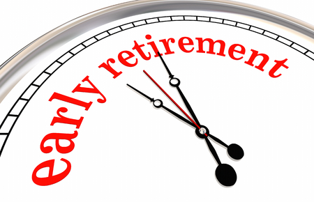 Early Retirement Clock Countdown Words 3d Render Illustration