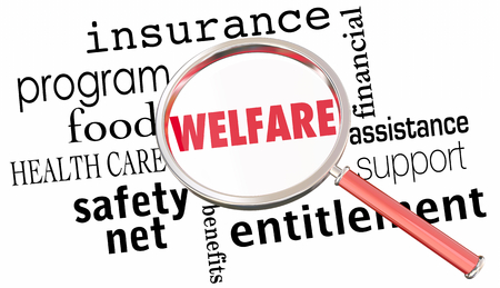Welfare Magnifying Glass Government Entitlements Words 3d Render Illustration 스톡 콘텐츠 - 101416874