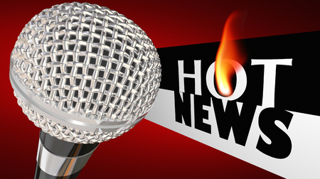 Hot News Microphone Big Update Announcement Words 3d Render Illustration