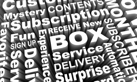 Box Subscription Service Surprise Delivery Word Collage 3d Render Illustration Stockfoto