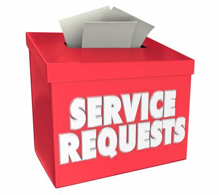 Service Requests Box Submit Problems Service 3d Render Illustration