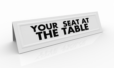 Your Seat at the Table Name Tent Card 3d Render Illustration