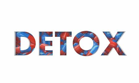 Detox Pills Medicine Addiction Recovery Word 3d Illustration