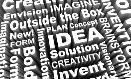 Idea Creativity Imagination Innovation Words 3d Render Illustration