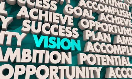 Vision Achieve Success Plan Words 3d Render Illustration