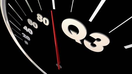 Q3 Third Quarter Budget Speedometer 3d Render Illustration