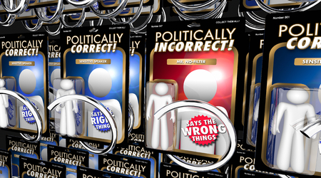 Politically Incorrect Person Action Figure Words 3d Render Illustration