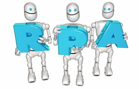 RPA Robotic Process Automation Robots Letters 3d Render Illustration Imagens
