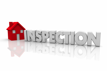 Home Inspection House Word Certified Inspector 3d Render Illustration