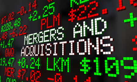 Mergers and Acquisitions M&A Stock Market Ticker 3d Render Illustration