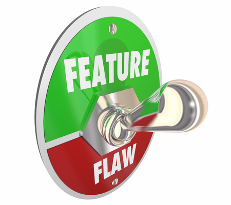 Feature Vs Flaw Switch New Product 3d Render Illustration Stock Photo