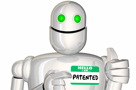Patented Technology Protected Design Robot Word 3d Render Illustration Stock Photo
