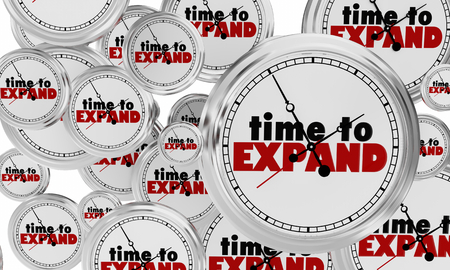 Time to Expand Clocks Grow Increase Words 3d Render Illustration