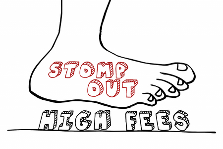 Stomp Out High Fees Foot Crushing WordsTime to Expand Clocks 3d Render Illustration