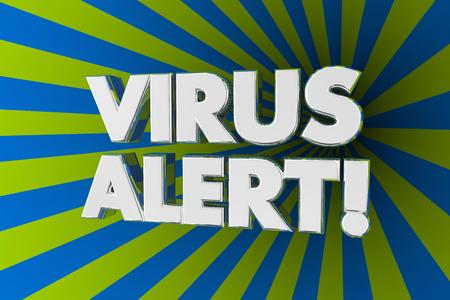 Virus Alert Warning Danger Announcement Update Words 3d Illustration