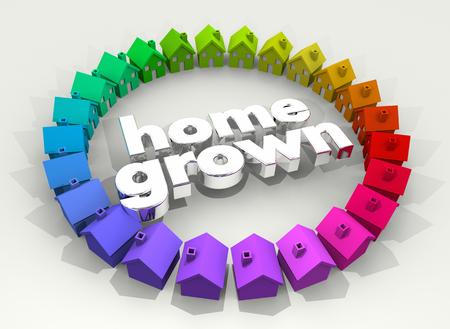 Home Grown Organic Garden Houses Business 3d Illustration Stok Fotoğraf