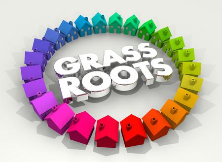 Grass Roots Home Town Base Effort Volunteer 3d Illustration Stock Photo