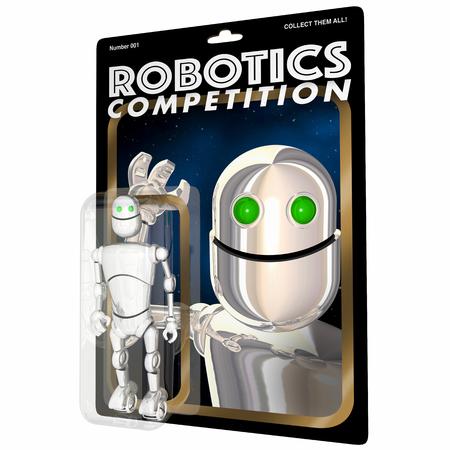 Robotics Competition Action Figure Game Event Words 3d Render Illustration