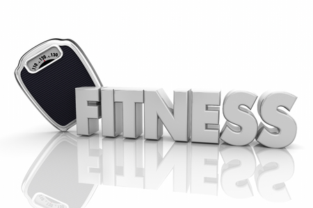Fitness Scale Healthy Lifestyle Diet Exercise Word 3d Render Animation Reklamní fotografie