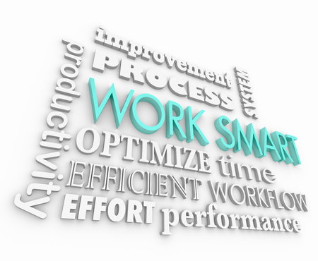 Work Smart Not Hard Productive Efficient Word Collage 3d Render Illustration