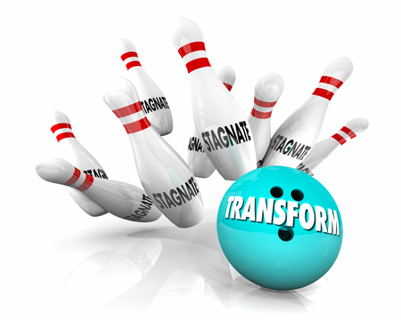 Transform or Stagnate Bowling Ball Strikes Pins 3d Render Illustration Stock Photo