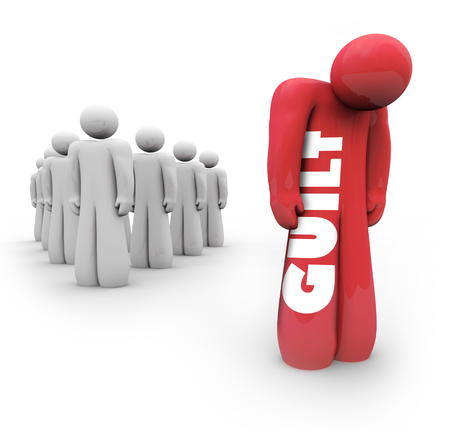 Guilt Person Sad Outcast from Group 3d Illustration Stock Photo